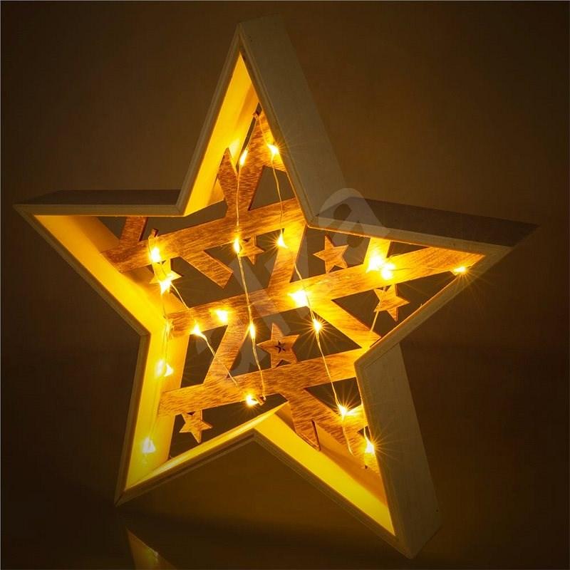 RETLUX RXL 312 hvězda dřevěná 20LED WW    - Svítící hvězda
