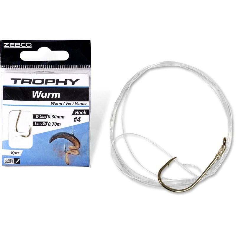 Zebco Trophy Worm Hook-to-Nylon Velikost 6 0,28mm 70cm 8ks - Návazec