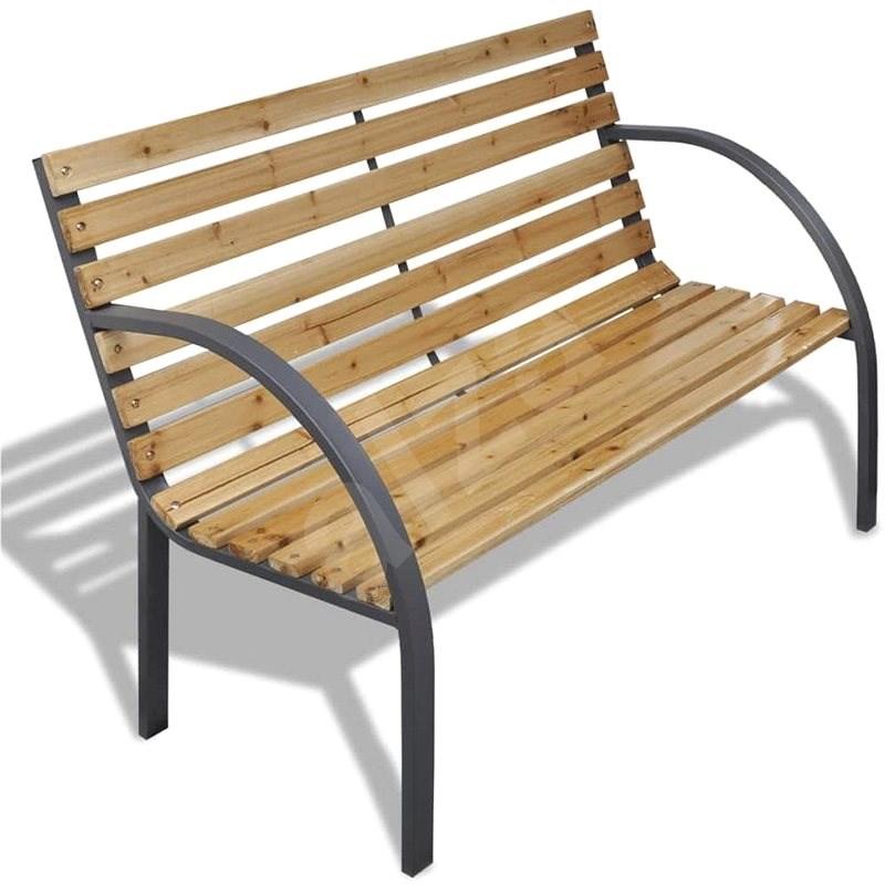 Zahradní lavice 120 cm dřevo a železo - Zahradní lavice