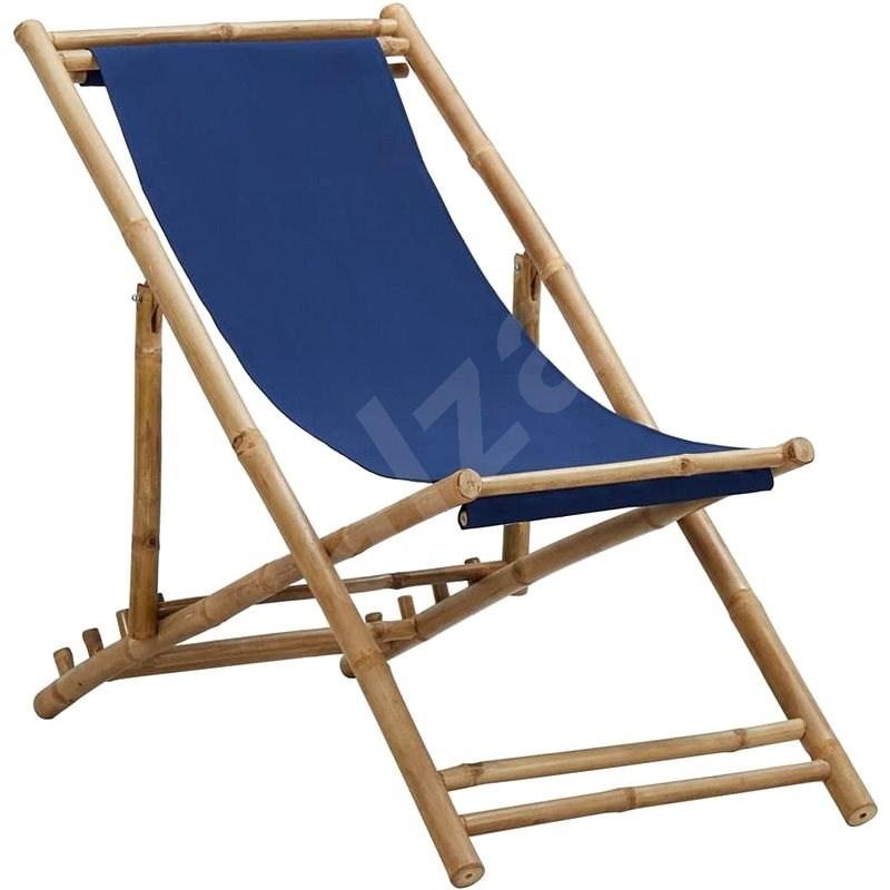 Kempingová židle bambus a plátno námořnická modrá 313019 - Zahradní židle