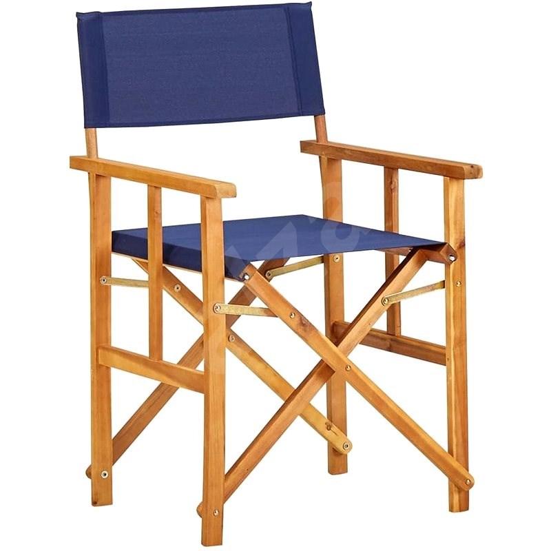 Režisérská židle masivní akáciové dřevo modrá 45952 - Zahradní židle