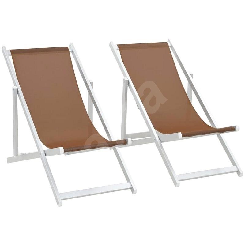 Skládací plážová křesla 2 ks hliník a textilen hnědá 44350 - Zahradní křeslo