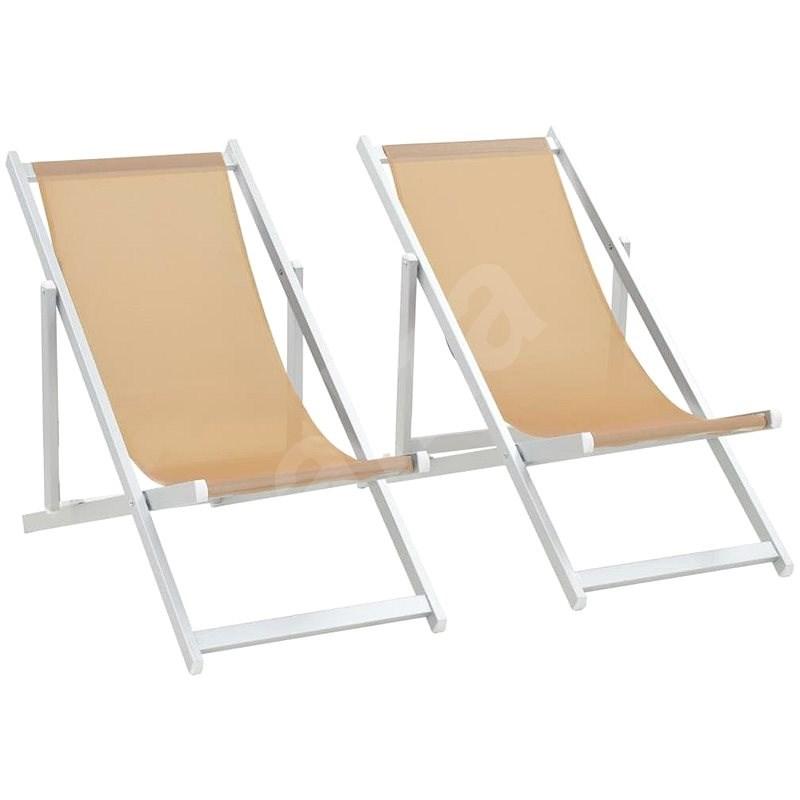 Skládací plážová křesla 2 ks hliník a textilen krémová 44349 - Zahradní křeslo