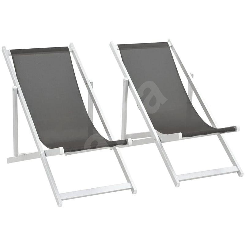 Skládací plážová křesla 2 ks hliník a textilen šedá 44347 - Zahradní křeslo