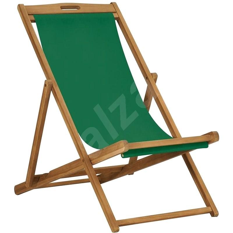 Skládací plážové křeslo masivní teak zelené 47416 - Zahradní křeslo