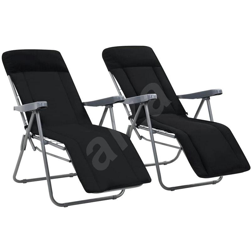 Skládací zahradní židle s poduškami 2 ks černé 44319 - Zahradní židle