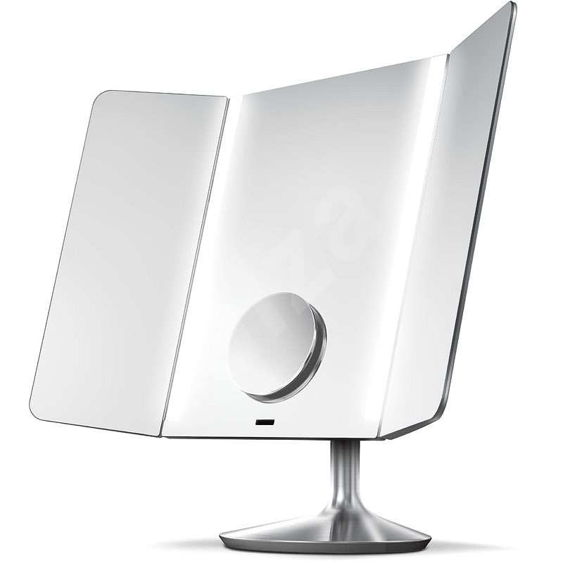 Simplehuman Sensor PRO Wide Viev s LED osvětlením, kartáčovaná nerez ocel - Kosmetické zrcátko