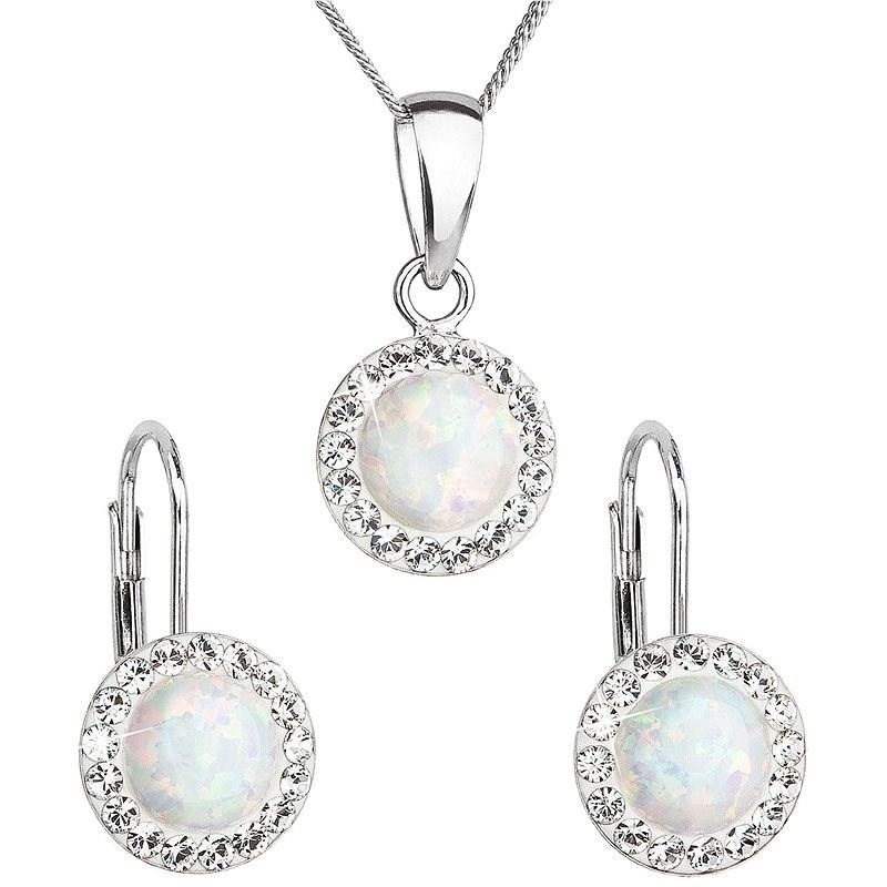 EVOLUTION GROUP 39160.1 bílý synt. opál souprava dekorovaná krystaly Preciosa® (Ag925/1000, 2 g) - Dárková sada šperků