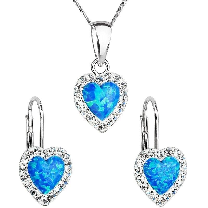 EVOLUTION GROUP 39161.1 modrý synt. opál souprava dekorovaná krystaly Preciosa® (Ag925/1000, 2 g) - Dárková sada šperků