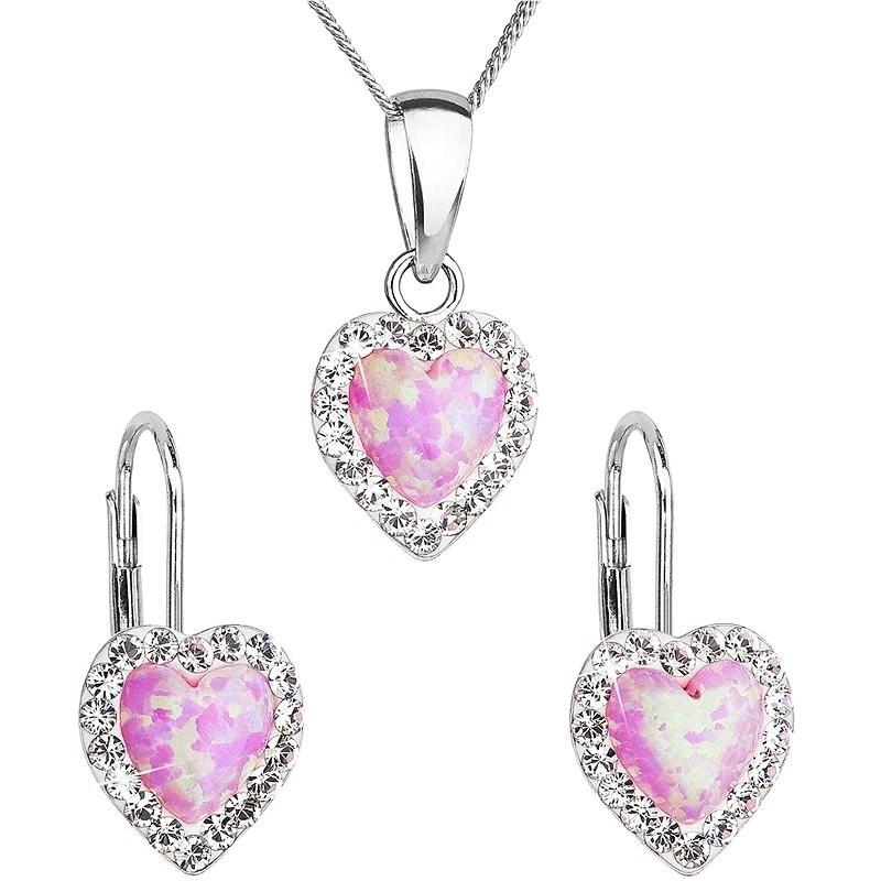 EVOLUTION GROUP 39161.1 růžový synt. opál souprava dekorovaná krystaly Preciosa® (Ag925/1000, 2 g) - Dárková sada šperků