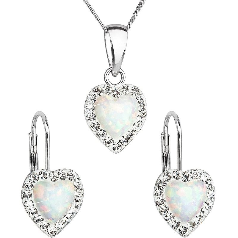 EVOLUTION GROUP 39161.1 White Synt. Opal Set Decorated with Preciosa® Crystals (925/1000, 2g) - Jewellery Gift Set