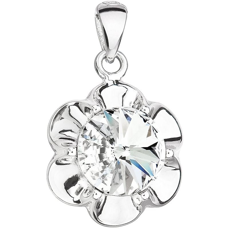 EVOLUTION GROUP 34230.1 kytička dekorovaná krystaly Swarovski® (Ag925/1000, 1,7 g, bílá) - Přívěsek