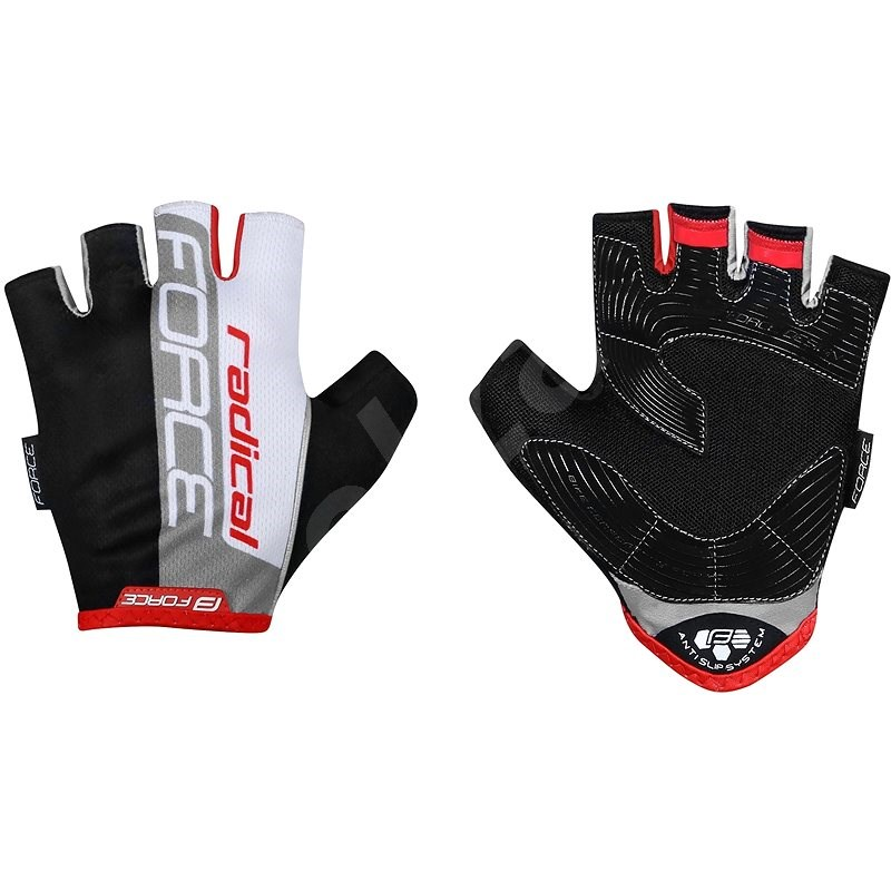 Force RADICAL, černo-bílo-červené XL - Cyklistické rukavice