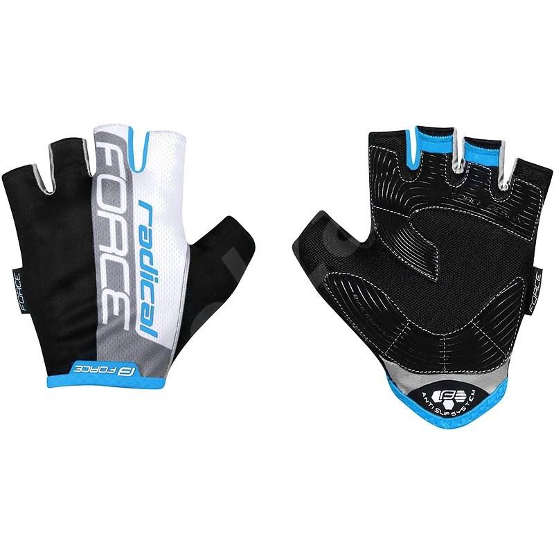 Force RADICAL, černo-bílo-modré S - Cyklistické rukavice