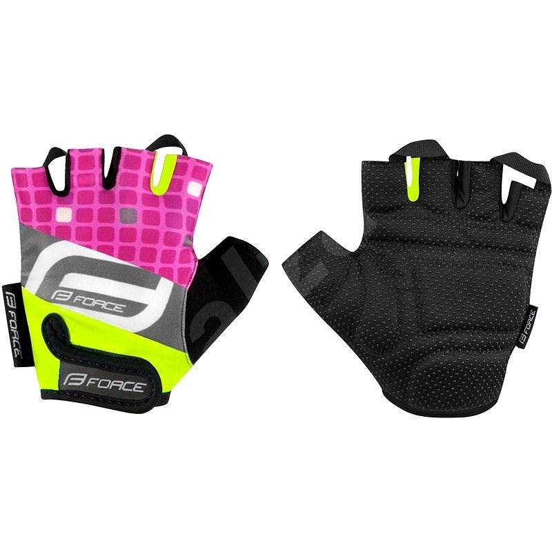 Force SQUARE dětské, fluo-růžové M - Cyklistické rukavice