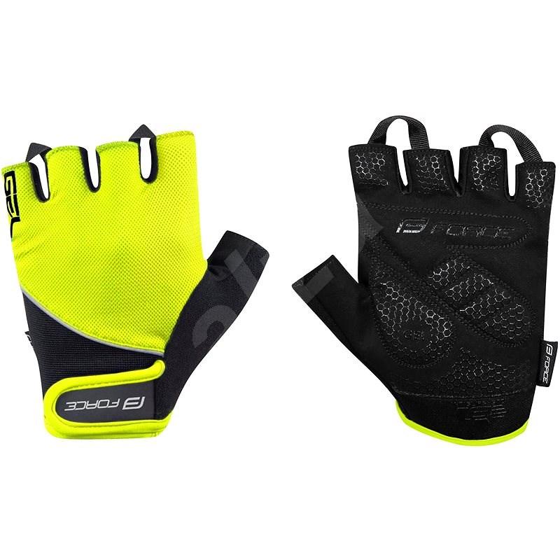 Force GEL, fluo-černé S - Cyklistické rukavice