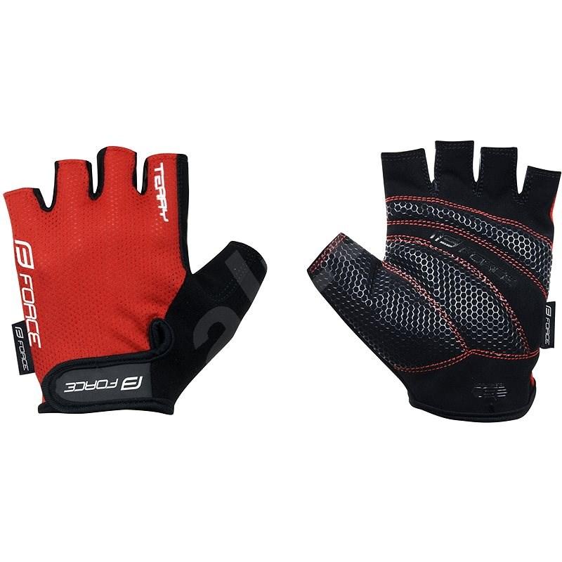 Force TERRY, červené S - Cyklistické rukavice