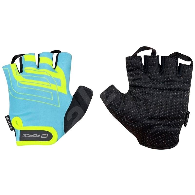Force SPORT, modrá/fluo S - Cyklistické rukavice