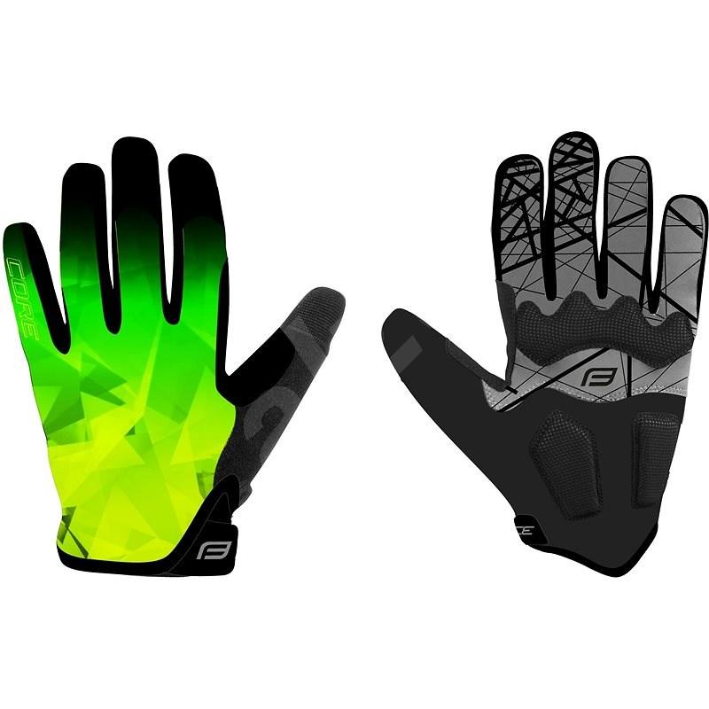 Force MTB CORE, fluo-zelené S - Cyklistické rukavice