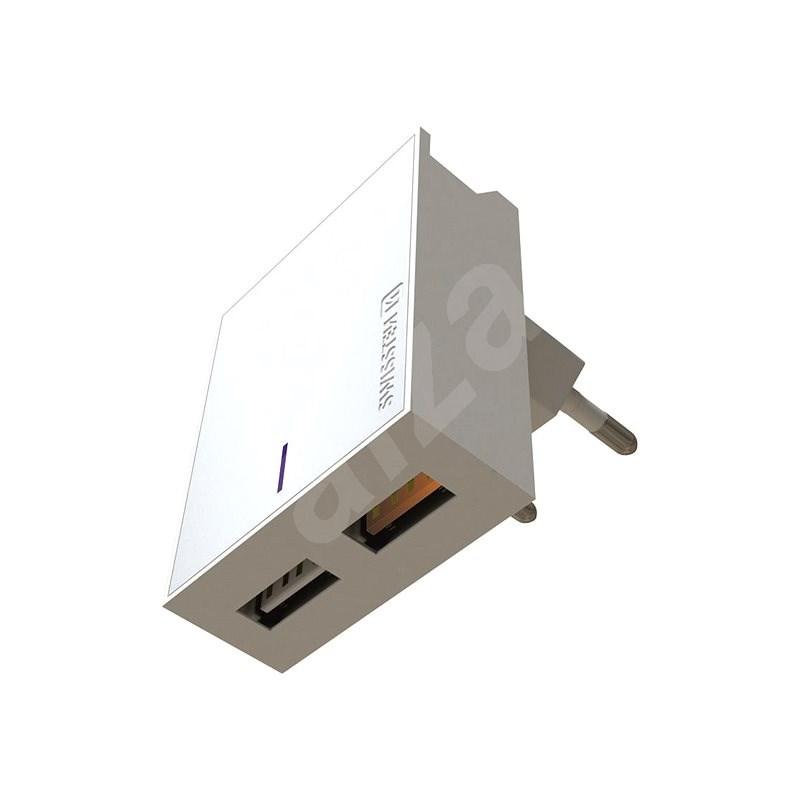 Swissten síťový adaptér 2xUSB QC3.0 23W bílý - Nabíječka do sítě