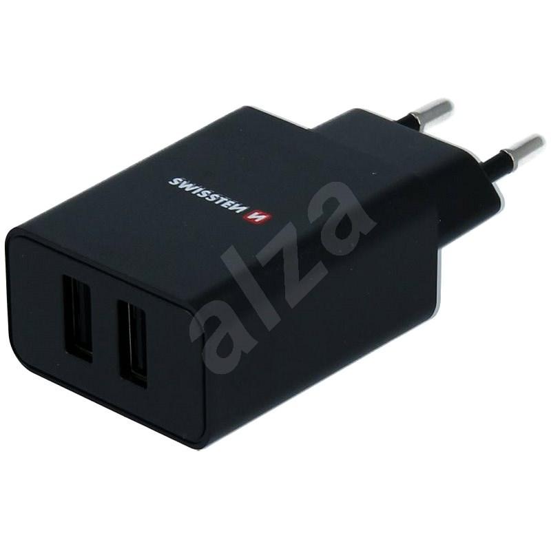 Swissten síťový adaptér SMART IC 2.1A + kabel micro USB 1.2m černý - Nabíječka do sítě
