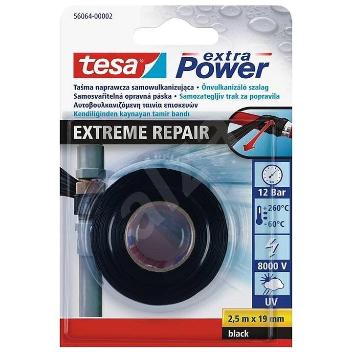 tesa exyra Power EXTREME REPAIR Self-Bonding Tape, UV resistant, black, 2.5m:19mm - Duct Tape