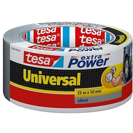 tesa Extra Power Universal, Textile, Silver, 25m: 50mm - Duct Tape