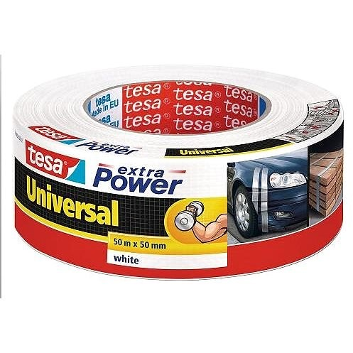 tesa Extra Power Universal, Textile, White, 50m: 50mm - Duct Tape
