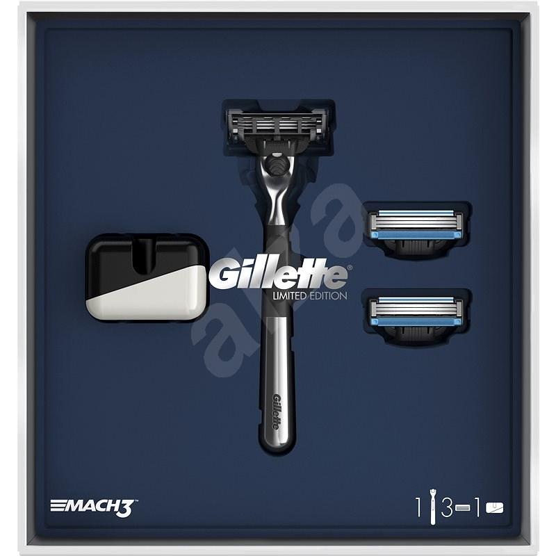 GILLETTE Mach3 Set Holicí strojek, 2 náhradní hlavice a stojan - Dárková kosmetická sada