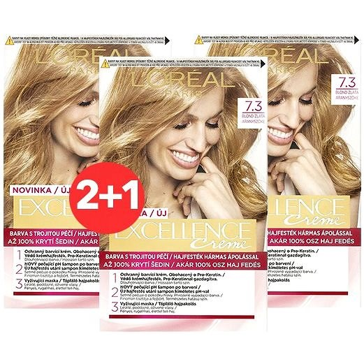 ĽORÉAL PARIS Excellence Creme 7.3 Blond zlatá 3× - Barva na vlasy