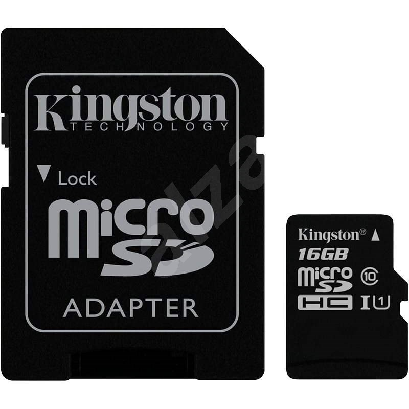 Kingston MicroSDHC 16GB Class 10 + SD adaptér - Paměťová karta