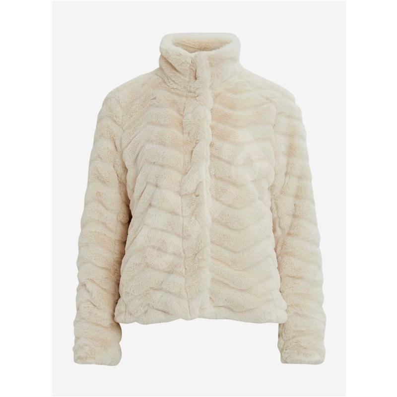 VILA Krémová bunda z umělého kožíšku Aliba XXL - Bunda