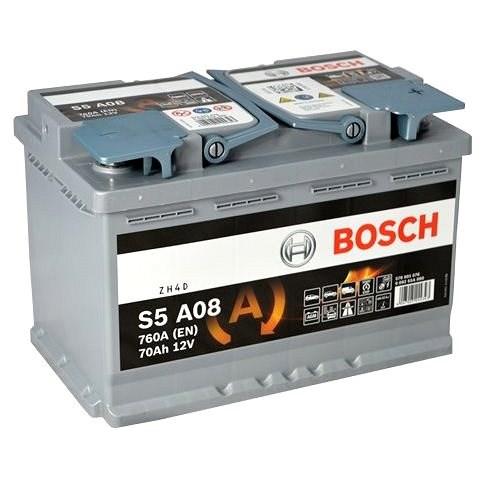 BOSCH S5A 080, 70Ah, 12V, AGM (0 092 S5A 080) - Autobaterie
