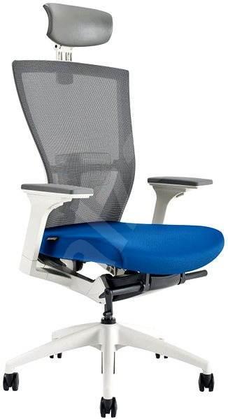 MERENS WHITE s pohlavníkem modrá - Kancelářská židle