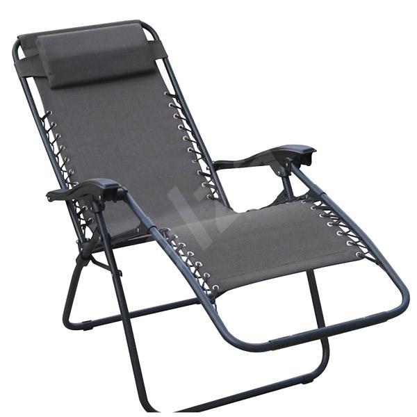 DIMENZA Relaxing Adjustable Lounger, Grey - Garden lounger