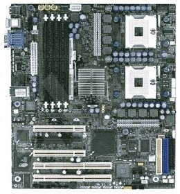 Intel SE7320SP2 Sun Prairie, iE7320, 4x DDR333 ECC, SATA RAID, int. VGA, USB2.0, GLAN, 2x sc604 800M -