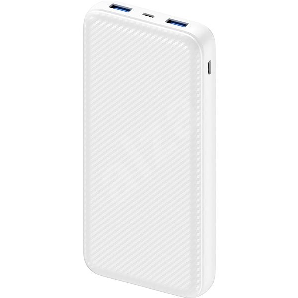 AlzaPower Carbon 20000mAh Fast Charge + PD3.0 White - Powerbanka