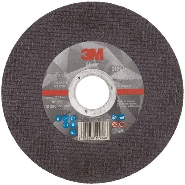 3M Silver Cut-Off Wheel, T41, 125 mm x 1 mm x 22.23 mm - Řezný kotouč