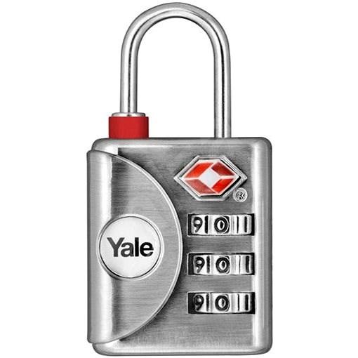 YALE VISACÍ ZÁMEK YTP1/32/119/1 s TSA, stříbrný - Zámek na zavazadla TSA