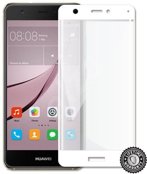 Screenshield Nova CAN-L11 Tempered Glass Protection (full COVER white metallic frame) - Glass protector