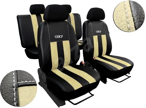 SIXTOL kožené s alcantarou GT béžové - Autopotahy