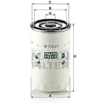 MANN-FILTER W719/27 pro vozy FORD;FORD USA;CHRYSLER;JEEP;MAZDA;MORGAN - Olejový filtr