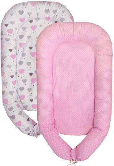 COSING SLEEPLEASE  Srdíčka růžová - Hnízdo pro miminko