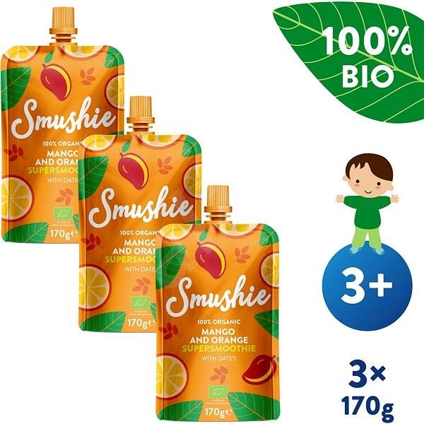 SALVEST Smushie BIO Ovocné smoothie s mangem, pomerančem a datlemi 3× 170 g - Příkrm
