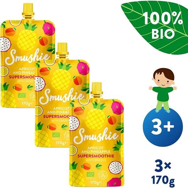 SALVEST Smushie BIO Ovocné smoothie s meruňkou, ananasem a lněnými semínky 3× 170 g - Příkrm