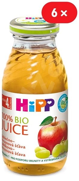HiPP BIO Jablečno-hroznová šťáva - 6× 200 ml - Nápoj