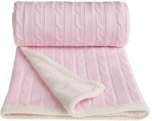 T-tomi Pletená deka WINTER růžová - Deka do kočárku