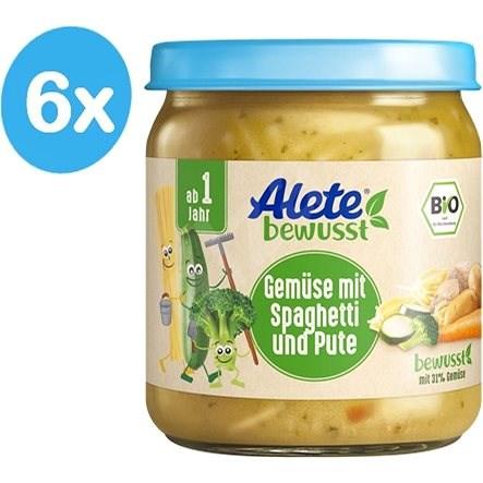 ALETE BIO Příkrm Zelenina se špagetami a krůtím masem 6× 250 g - Dětský příkrm