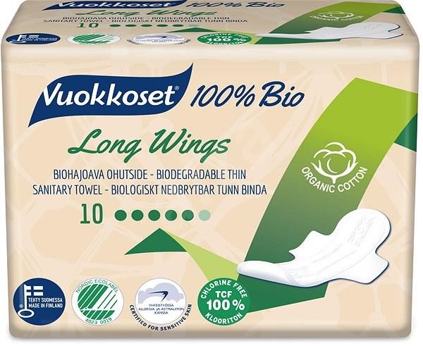 VUOKKOSET 100% BIO Long Wings thin 10 ks - Eko menstruační vložky
