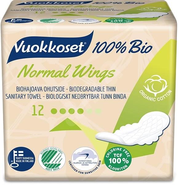 VUOKKOSET 100% BIO Normal Wings thin 12 ks - Eko menstruační vložky